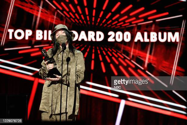 AWARDS Show 2020 BBMA at the Dolby Theater Los Angeles California Pictured In this image released on October 14 Billie Eilish accepts the Top...