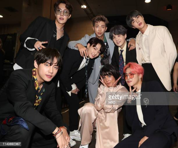 Show Backstage -- 2019 BBMA at the MGM Grand, Las Vegas, Nevada -- Pictured: Halsey and BTS --