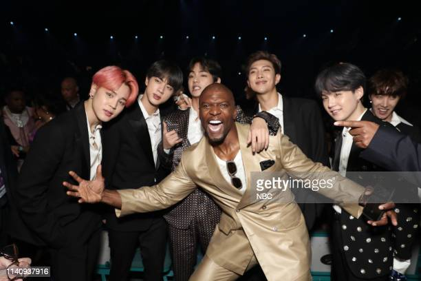 AWARDS Show Backstage 2019 BBMA at the MGM Grand Las Vegas Nevada Pictured BTS and Terry Crews