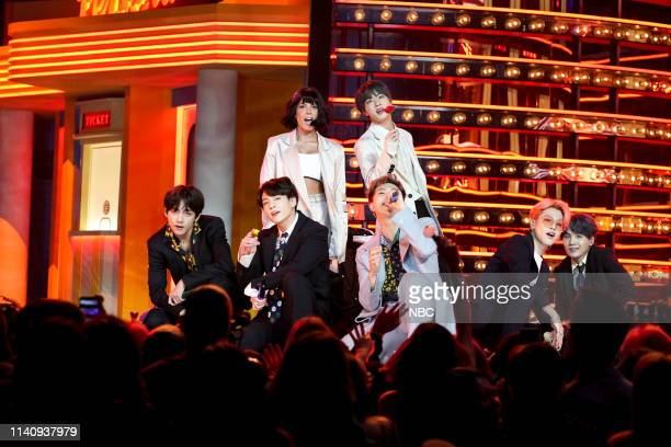 AWARDS Show Backstage 2019 BBMA at the MGM Grand Las Vegas Nevada Pictured BTS and Halsey