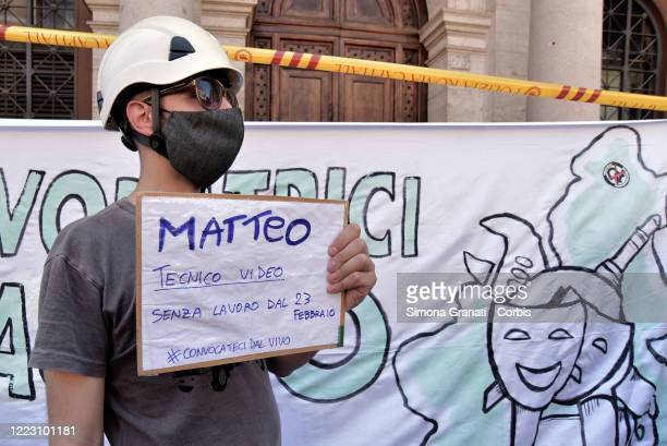 Show business workers, actresses, actors, technicians, musicians, etc. Protest in Piazza SS. Apostoli, on June 27, 2020 in Rome, Italy. Show business...