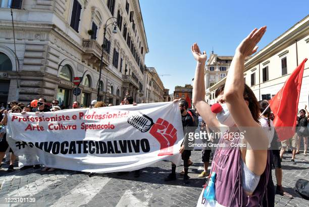Show business workers, protest in Piazza SS. Apostoli, on June 27, 2020 in Rome, Italy. Show business workers are calling for an income that will...