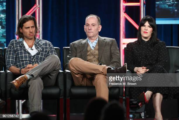 Show cocreator/writer/executive producer Brad Falchuk cocreator/writer/executive producer Tim Minear and executive producer Alexis Martin Woodall of...