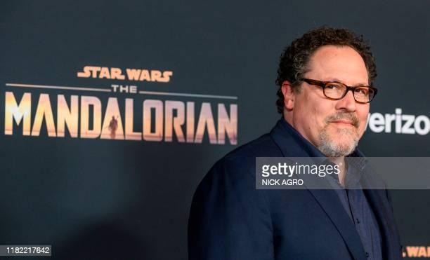 "Show creator Jon Favreau arrives for Disney+ World Premiere of ""The Mandalorian"" at El Capitan theatre in Hollywood on November 13, 2019."
