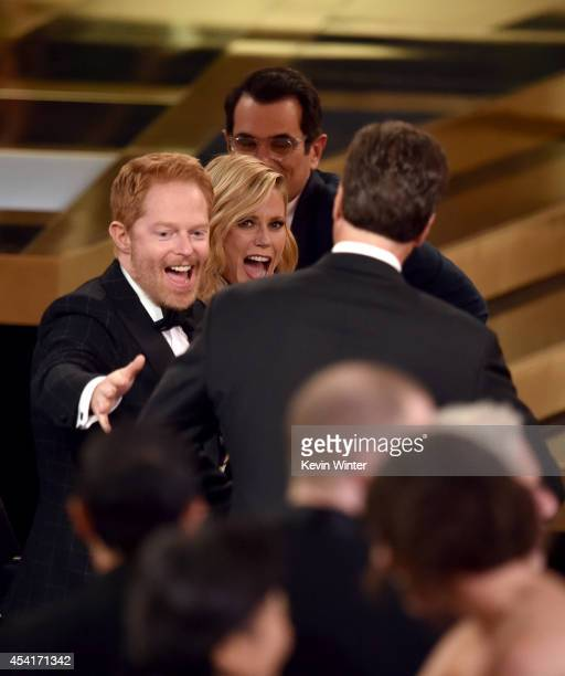 Show creator Steven Levitan with actors Jesse Tyler Ferguson, Julie Bowen and Ty Burrell accept Outstanding Comedy Series for 'Modern Family' onstage...