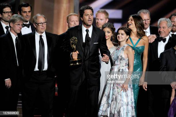 Show creator Steven Levitan with cast and crew members accept the Outstanding Comedy Series Award for 'Modern Family' onstage during the 64th Annual...