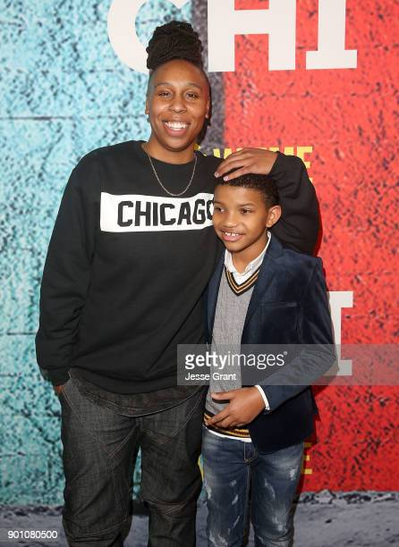 Show creator writer and executive producer Lena Waithe and Lonnie Chavis attend the premiere of Showtime's 'The Chi' at Downtown Independent on...