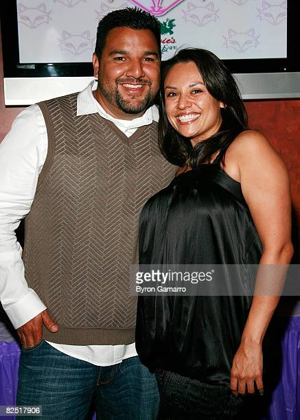 Show creators Chris Abrigo and Angela Aguilera at premiere party for VH1's Glam God television show on August 21 2008 in Encino California