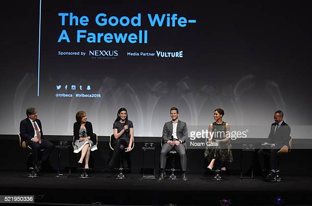 Show creators Robert King and Michelle King actress Julianna Margulies actor Matt Czuchry actress Cush Jumbo and moderator Henry Goldblatt speak on...