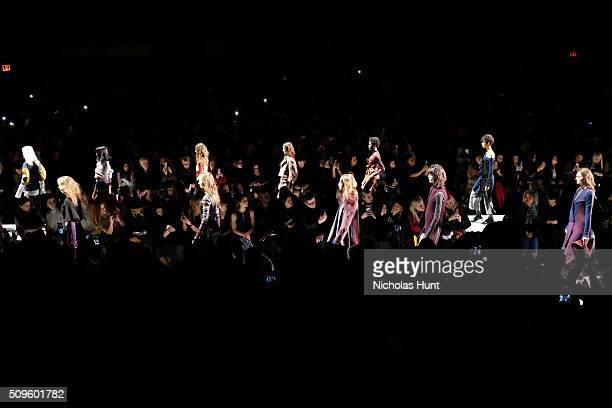 Show Finale for the BCBGMAXAZRIA show during Fall 2016 New York Fashion Week The Shows at The Arc Skylight at Moynihan Station on February 11 2016 in...