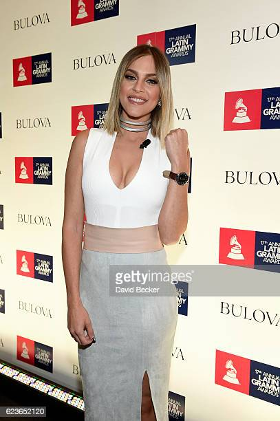 TV show host Daniela di Giacomo attends the gift lounge during the 17th annual Latin Grammy Awards at TMobile Arena on November 16 2016 in Las Vegas...