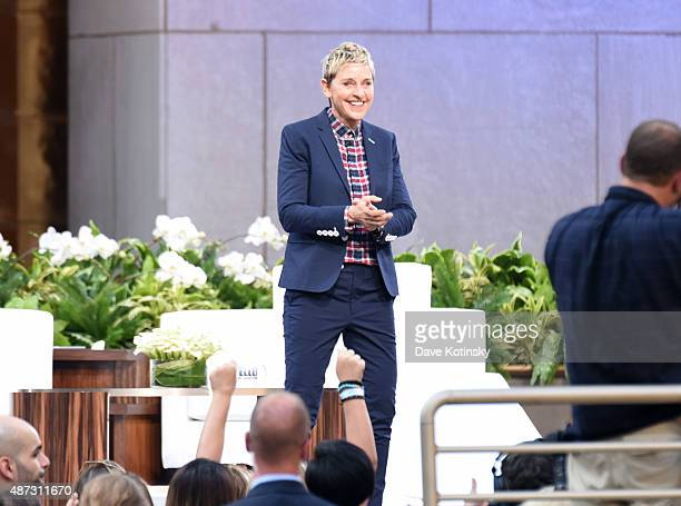 "Show host Ellen Degeneres appears at ""The Ellen Degeneres Show"" Season 13 Bi-Coastal Premiere at Rockefeller Center on September 8, 2015 in New York..."