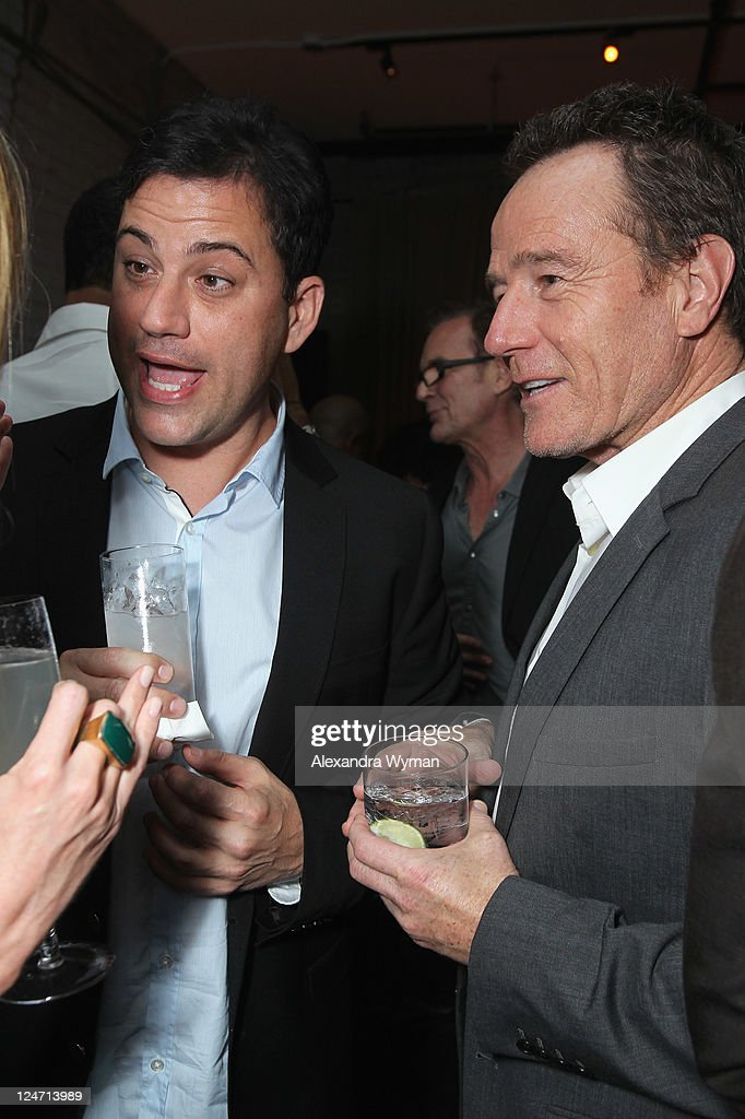 TV Show Host Jimmy Kimmel and Actor Bryan Cranston attend 'A Dangerous Method' party hosted by GREY GOOSE Vodka at Soho House Pop Up Club during the 2011 Toronto International Film Festival on September 10, 2011 in Toronto, Canada.