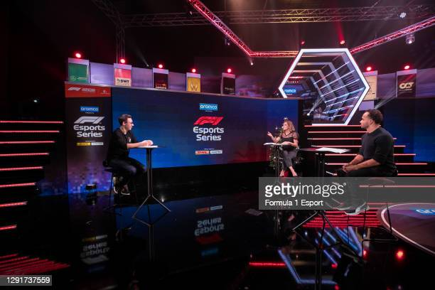 Show host Tom Deacon, Natalie Pinkham and Nicolas Hamilton during broadcast of the F1 Esports Grand Final held at the GFinity Arena on December 16,...