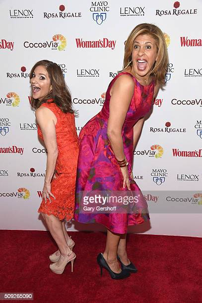 TODAY show hosts Joy Bauer and Hoda Kotb attend the 2016 Woman's Day Red Dress Awards on February 9 2016 in New York City