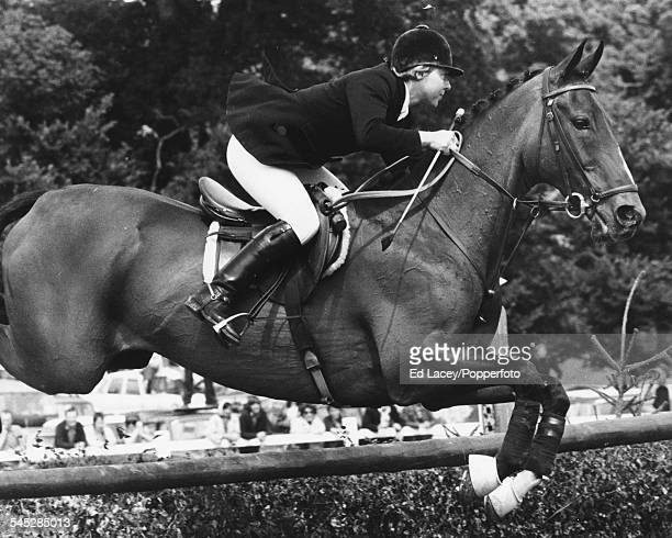 Show jumper Anne Moore riding 'Psalm' during the Wills International Grand Prix Hickstead July 22nd 1973