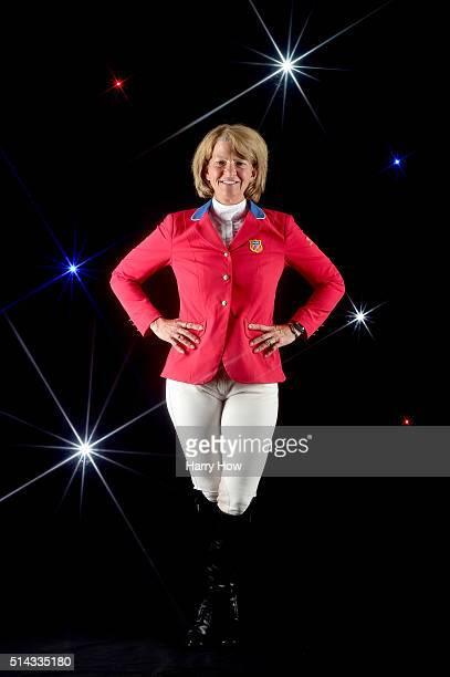 Show jumper Beezie Madden poses for a portrait at the 2016 Team USA Media Summit at The Beverly Hilton Hotel on March 7 2016 in Beverly Hills...