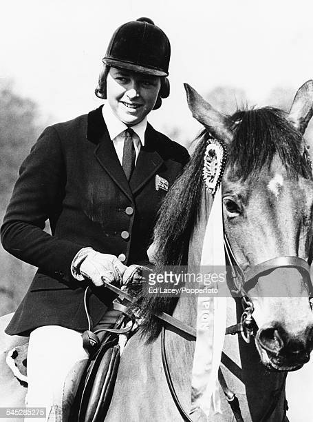 Show jumper Marion Coakes riding 'Little Fellow' at Hickstead England on April 11th 1966