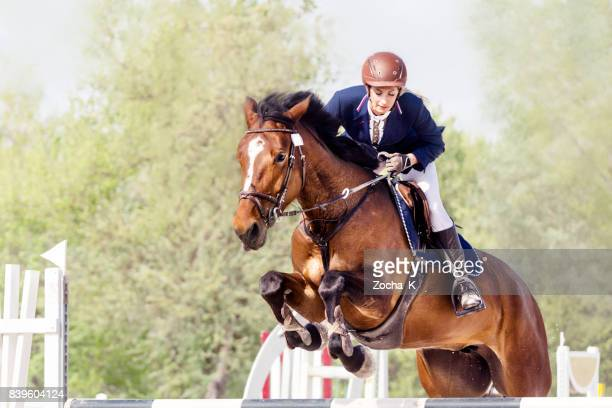 show jumping - horse with female rider jumping over hurdle - hurdling horse racing stock pictures, royalty-free photos & images