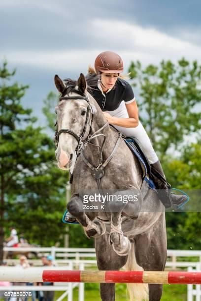 ショーの跳躍のハードルを渡すライダーと馬