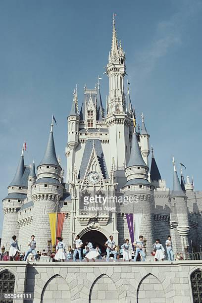 A show outside the Cinderella Castle at Walt Disney World Florida 1980