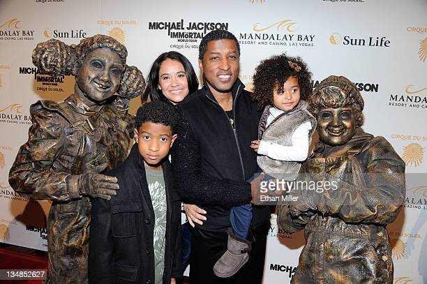 Show performers appear with recording artist Kenneth Babyface Edmonds his wife Nicole Pantenburg son Dylan Edmonds and daughter Peyton Edmonds as...