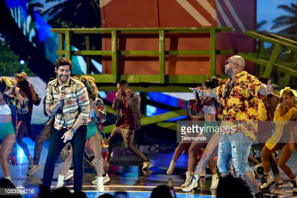 AWARDS 'Show' Pictured Alvaro Soler and Flo Rida at the Dolby Theatre in Hollywood CA on October 25 2018