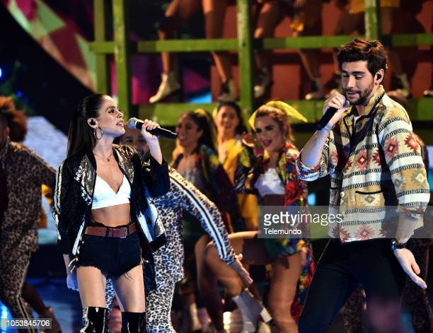 AWARDS 'Show' Pictured Alvaro Soler and tINI at the Dolby Theatre in Hollywood CA on October 25 2018
