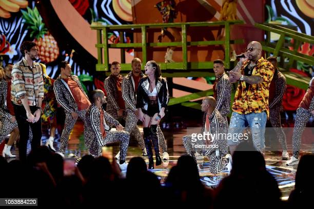 AWARDS 'Show' Pictured Alvaro Soler tINI and Flo Rida at the Dolby Theatre in Hollywood CA on October 25 2018