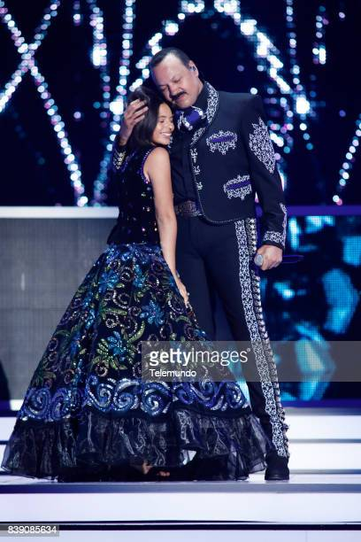 MUNDO 2017 'Show' Pictured Angela Aguilar and Pepe Aguilar perform on stage during the 2017 Premios Tu Mundo at the American Airlines Arena in Miami...