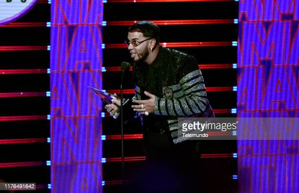 AWARDS Show Pictured Anuel AA accepts the Artista del Ano award at the Dolby Theatre in Hollywood CA on October 17 2019