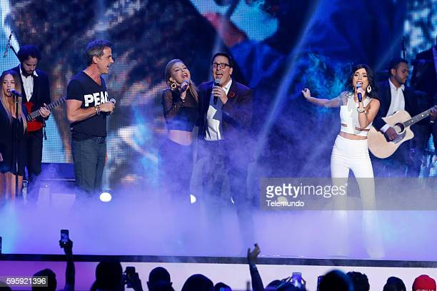 "Show"" -- Pictured: Carlos Ponce, Laura Flores, Raul Gonzalez, and Carolina Gaitan perform on stage during the 2016 Premios Tu Mundo at the American..."
