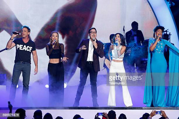 "Show"" -- Pictured: Carlos Ponce, Laura Flores, Raul Gonzalez, Carolina Gaitan, and Jeimy Osorio perform on stage during the 2016 Premios Tu Mundo at..."