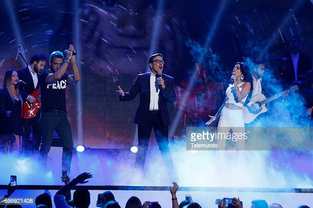 "Show"" -- Pictured: Carlos Ponce, Raul Gonzalez, and Carolina Gaitan perform on stage during the 2016 Premios Tu Mundo at the American Airlines Arena..."
