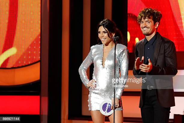 "Show"" -- Pictured: Carolina Gaitan and Tommy Torres on stage during the 2016 Premios Tu Mundo at the American Airlines Arena in Miami, Florida on..."