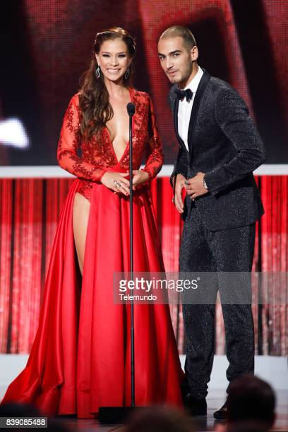 MUNDO 2017 'Show' Pictured Carolina Miranda Michel Duval on stage during the 2017 Premios Tu Mundo at the American Airlines Arena in Miami Florida on...