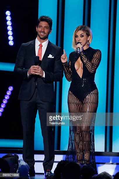 MUNDO 2016 'Show' Pictured David Chocarro and Aracely Arambula on stage during the 2016 Premios Tu Mundo at the American Airlines Arena in Miami...