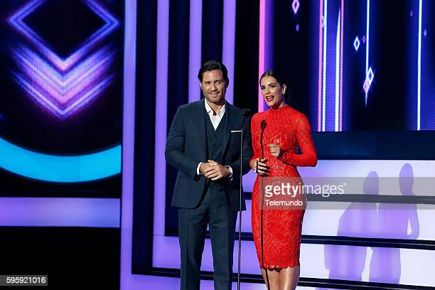 MUNDO 2016 Show Pictured Edgar Ramirez and Gaby Espino on stage during the 2016 Premios Tu Mundo at the American Airlines Arena in Miami Florida on...