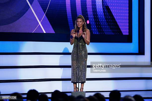 MUNDO 2016 Show Pictured Erika De la Vega on stage during the 2016 Premios Tu Mundo at the American Airlines Arena in Miami Florida on August 25 2016