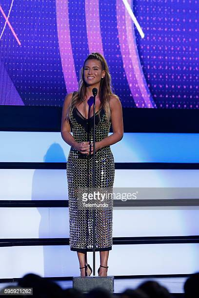 """Show"""" -- Pictured: Erika De la Vega on stage during the 2016 Premios Tu Mundo at the American Airlines Arena in Miami, Florida on August 25, 2016 --"""