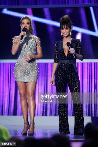 MUNDO 2017 'Show' Pictured Fernanda Castillo and Carmen Villalobos on stage during the 2017 Premios Tu Mundo at the American Airlines Arena in Miami...