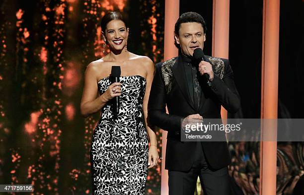Gaby Espino and Pedro Fernández on stage during the 2015 Billboard Latin Music Awards from Miami Florida at the BankUnited Center University of Miami...