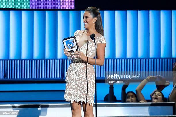 Gaby Espino on stage during the 2015 Premios Tu Mundo at the American Airlines Arena in Miami Florida on August 20 2015 PREMIOS TU MUNDO 2015...