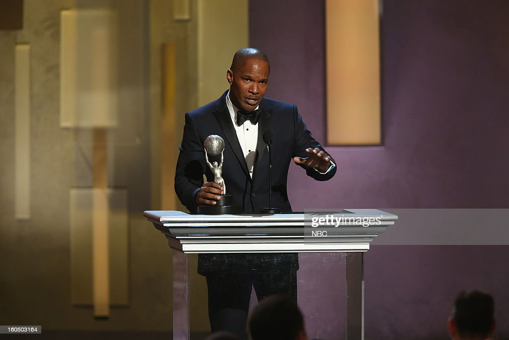 Jamie Foxx, winner Entertainer of the Year, on stage at The Shrine Auditorium, February 1, 2013 --