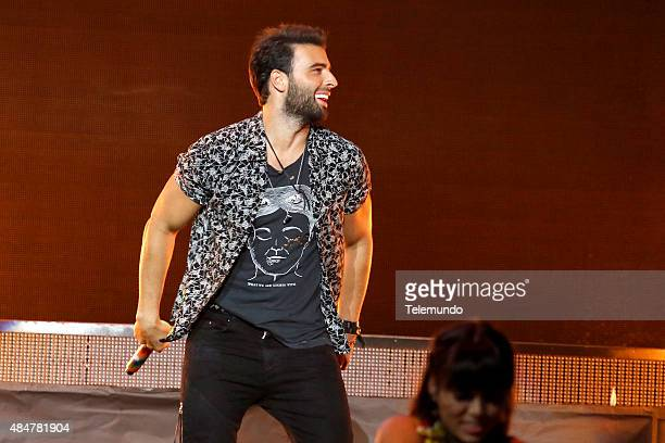 Jencarlos Canela on stage during the 2015 Premios Tu Mundo at the American Airlines Arena in Miami Florida on August 20 2015 PREMIOS TU MUNDO 2015...