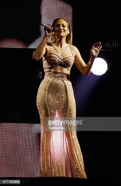 Jennifer Lopez on stage during the 2015 Billboard Latin Music Awards from Miami Florida at the BankUnited Center University of Miami on April 30 2015...
