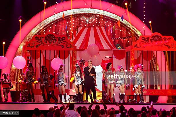 MUNDO 2016 'Show' Pictured Juan Magan and Luciana perform on stage during the 2016 Premios Tu Mundo at the American Airlines Arena in Miami Florida...