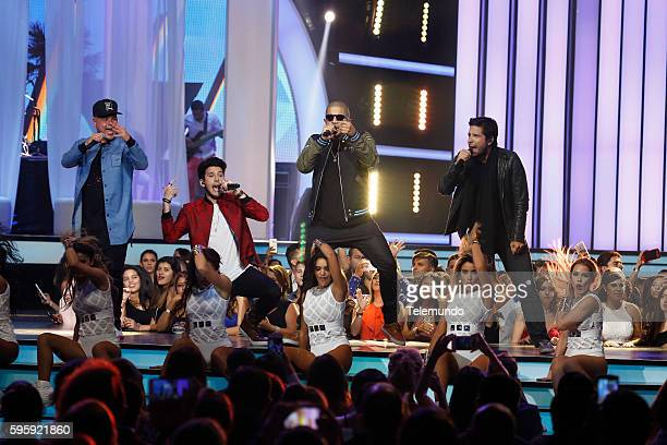 MUNDO 2016 'Show' Pictured Juan Magan Sebastian Yatra and Cali y El Dandee perform on stage during the 2016 Premios Tu Mundo at the American Airlines...