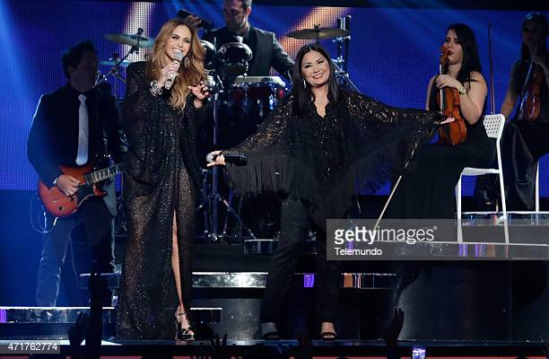 Lucero and Ana Gabriel on stage during the 2015 Billboard Latin Music Awards from Miami Florida at the BankUnited Center University of Miami on April...
