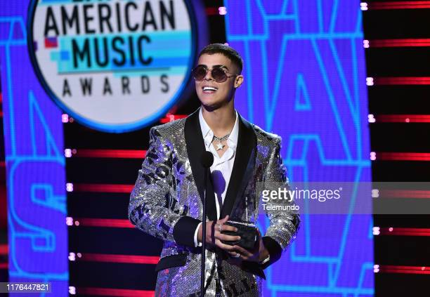 AWARDS Show Pictured Lunay accepts Nuevo Artista del Ano award at the Dolby Theatre in Hollywood CA on October 17 2019